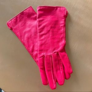 Hot Pink H&M Genuine Leather Gloves
